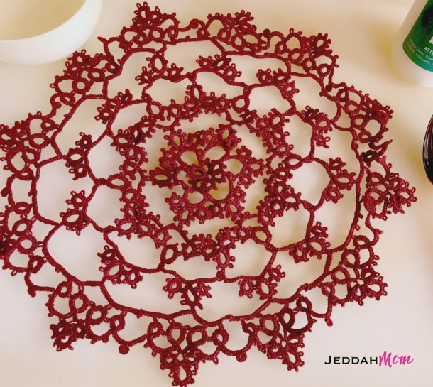 Tatting Lace doily How to starch JeddahMOm