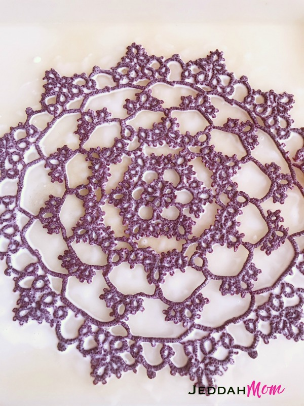 how to soak doily in starch for blocking