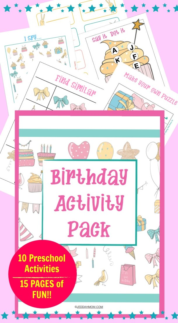 Birthday Activity Pack Homeschool Home daycare classroom activities for preschoolers and kindergarten JeddahMom