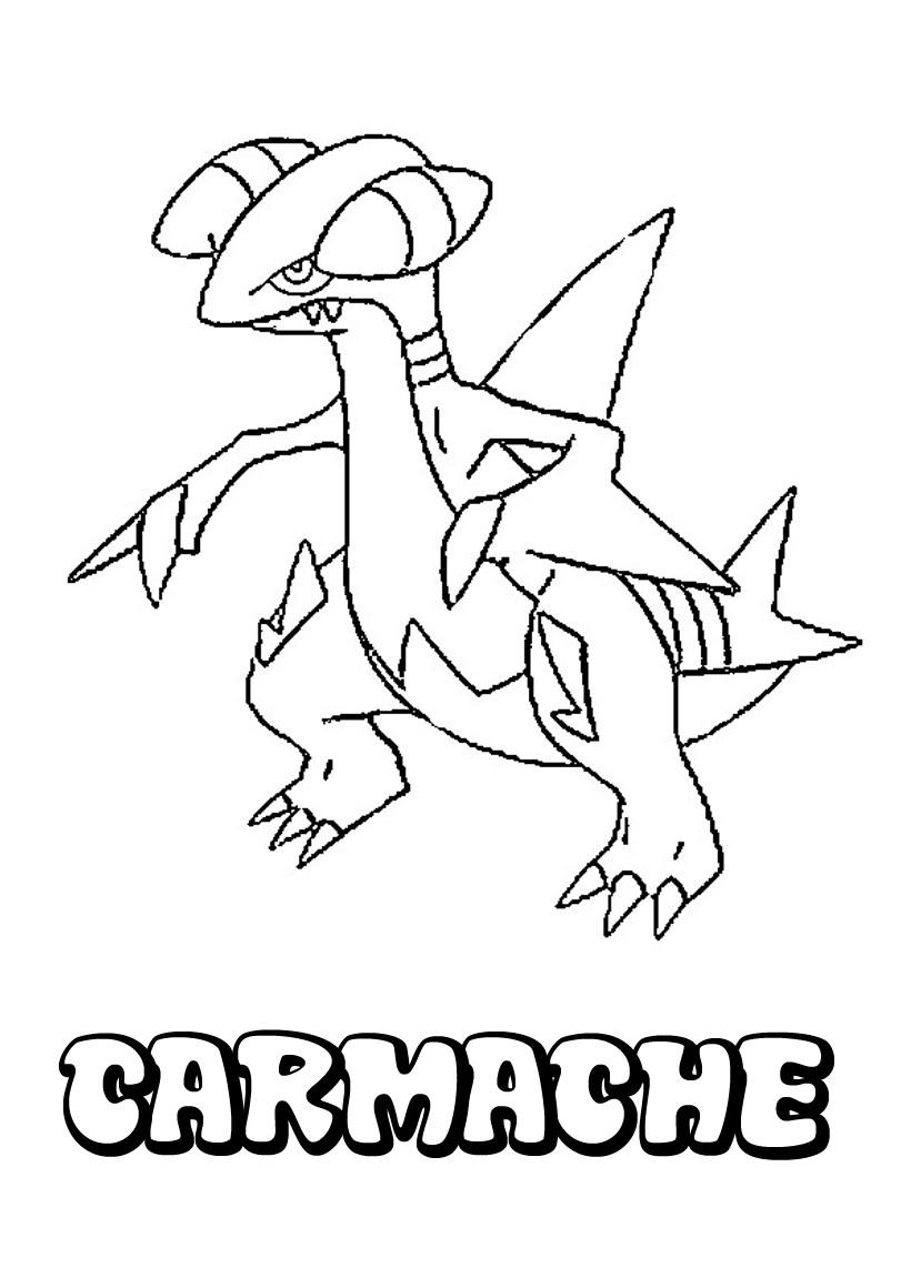 dessin à imprimer du Pokemon Carmache