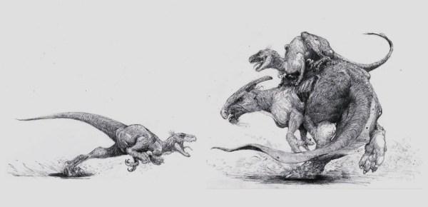parasaurolophus et raptors