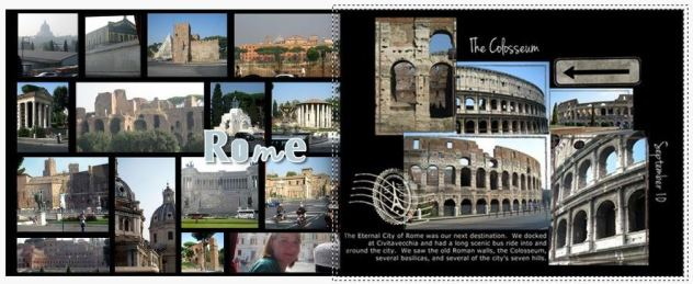 This is a 2-page layout for Rome; both are pre-designed pages where I changed backgrounds, titles, stickers, etc.