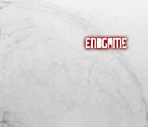 The black-and-white planet sketch and red lettering for Endgame