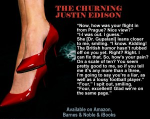 "A lady's red heels with a quote from ""The Churning."""