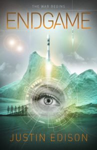 "Endgame cover by Greg Simanson Designs. Cover shows characters, rockets and a woman's eye against a green-ice background and twin suns, orange lettering. ""The war begins"" is added at the top."