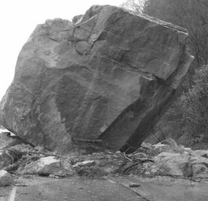 A boulder which fell and crushed a roadway in Ohio.