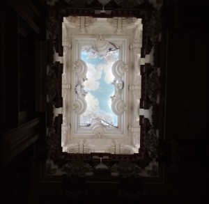 Sky-painted ceiling in Hartlaxton Manor, UK