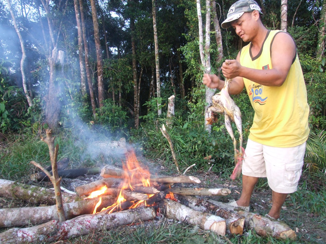 Chicken being plucked before cooking.