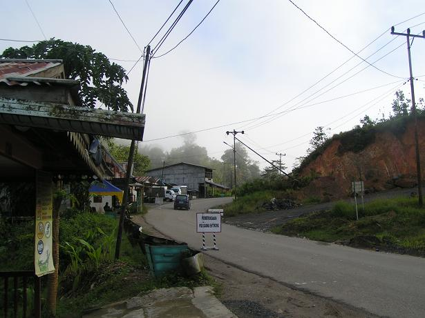 The road on the Indonesian side of the border.