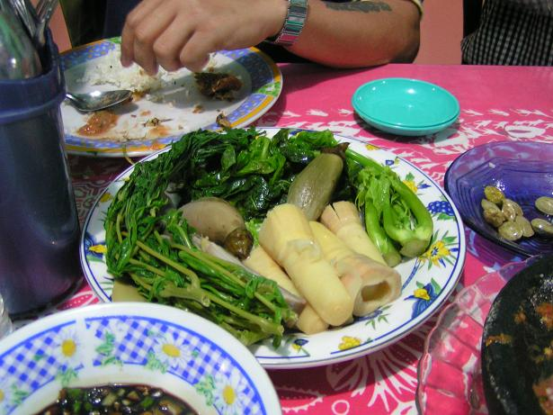 Obergines, bamboo shoots, papaya shoots and young leaves of the tapioca/cassava plant.