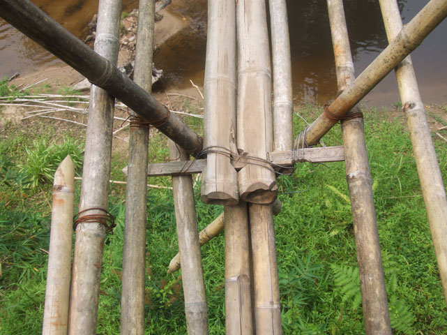 """""""hinge"""" between two sets of bamboo stalks."""