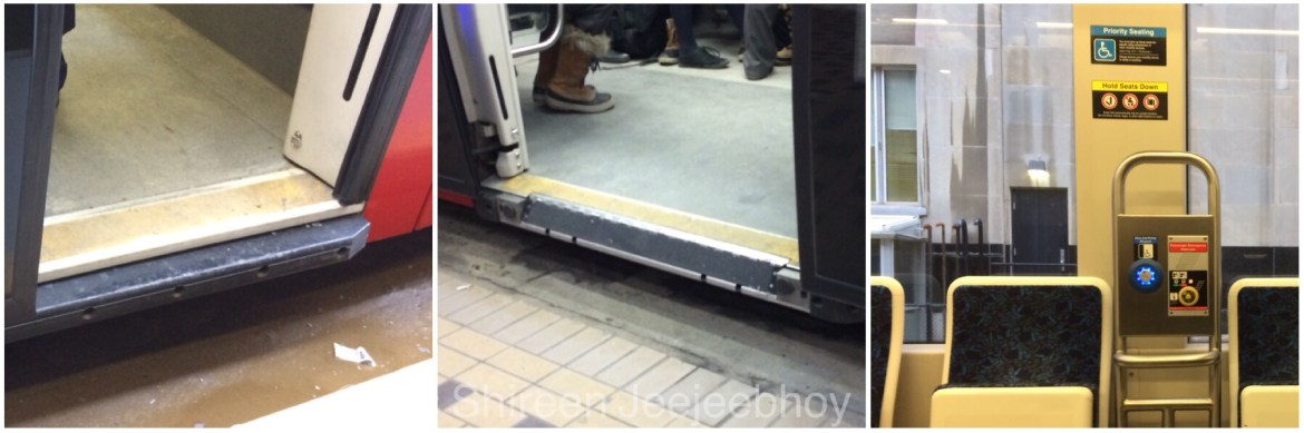 Photos of new streetcar door jambs and enormous windows.