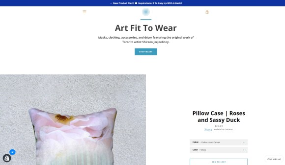 Art Fit To Wear ShopHERE home page as of 9 October 2020