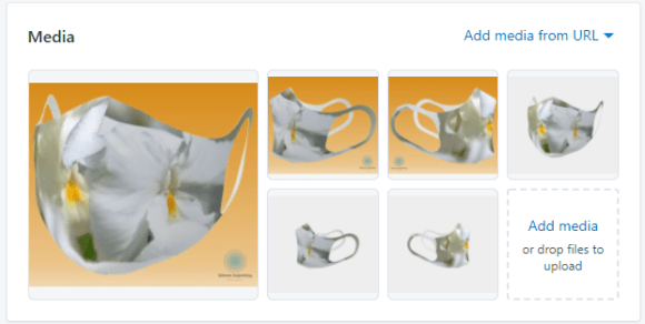Pansy mask with customized gradient yellow backgrounds and with standard white-grey.