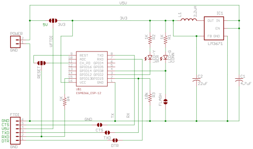 small resolution of an esp8266 and a switching regulator to bring the 5v down to 3 3v basically and some very finicky choices of pins and jumpers to be able to use this in
