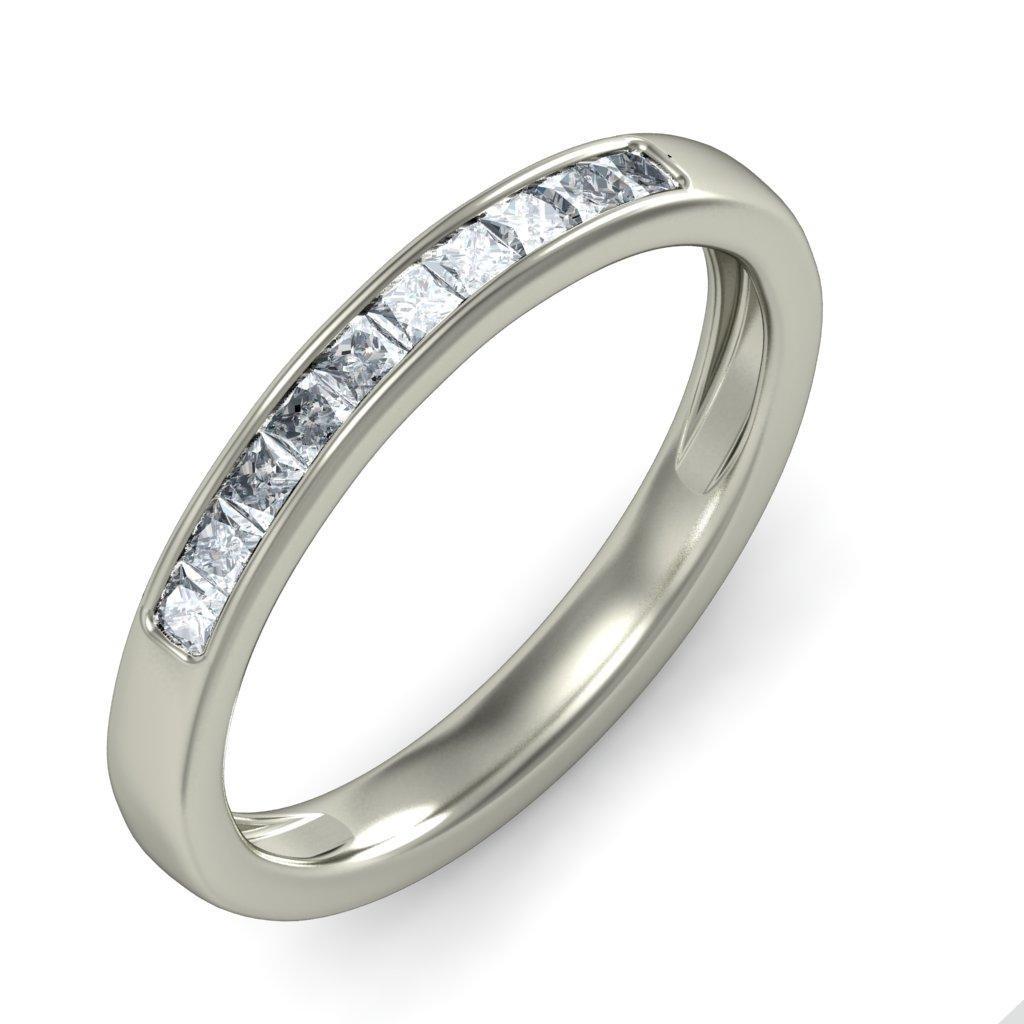 Half Carat Princess Diamond Wedding Ring Band In Gold