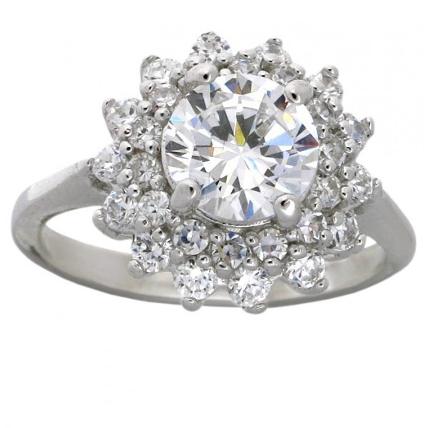 Flower Halo 2 Carat Cubic Zirconia Engagement Ring In