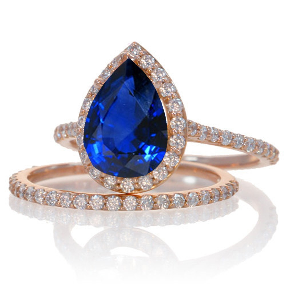 2 Carat Sapphire And Diamond Halo Bridal Ring Set On 10k