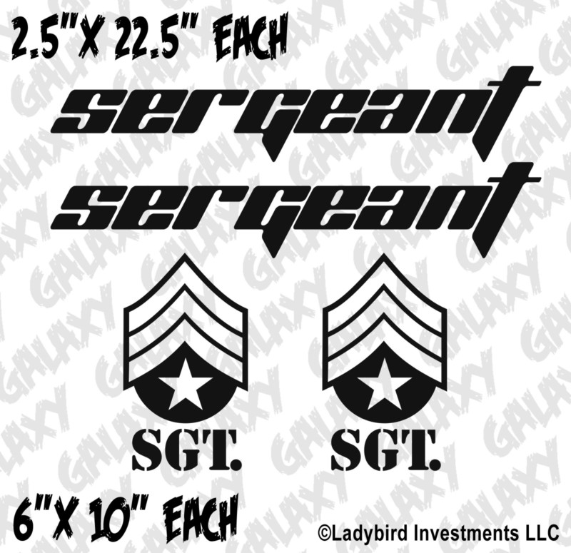 Jeep Wrangler 4 Pc. Hood / Fender Sergeant Badge Decal Kit