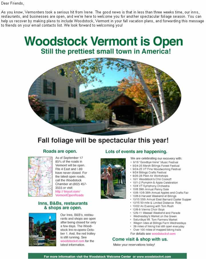 Woodstock Vermont is open for fall foliage and more