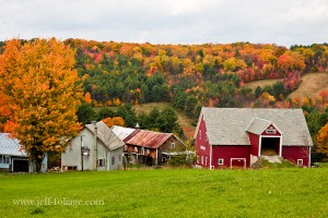 A Vermont farm amid the fall foliage in New England
