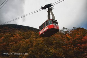 Riding the gondola up Cannon Mtn..