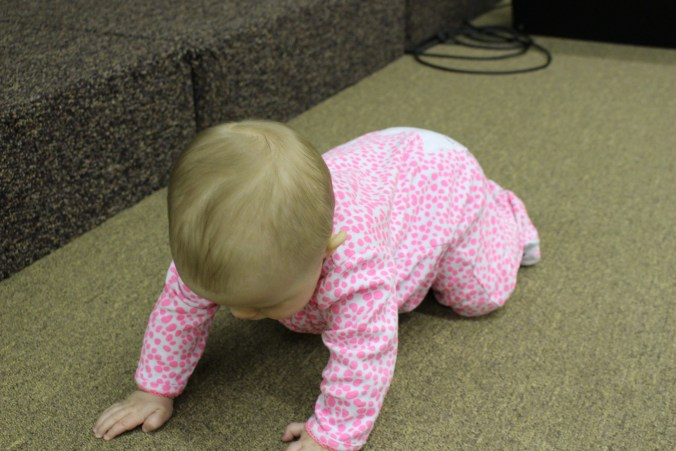 LOOK AT HER GETTING ON HER KNEES! she is almost ready to start crawling...