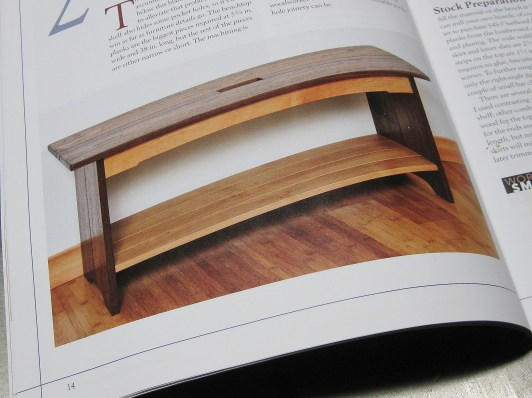 The blanket bench in walnut and alder.