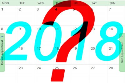 A graphic showing a calander for 2018 with a big question mark