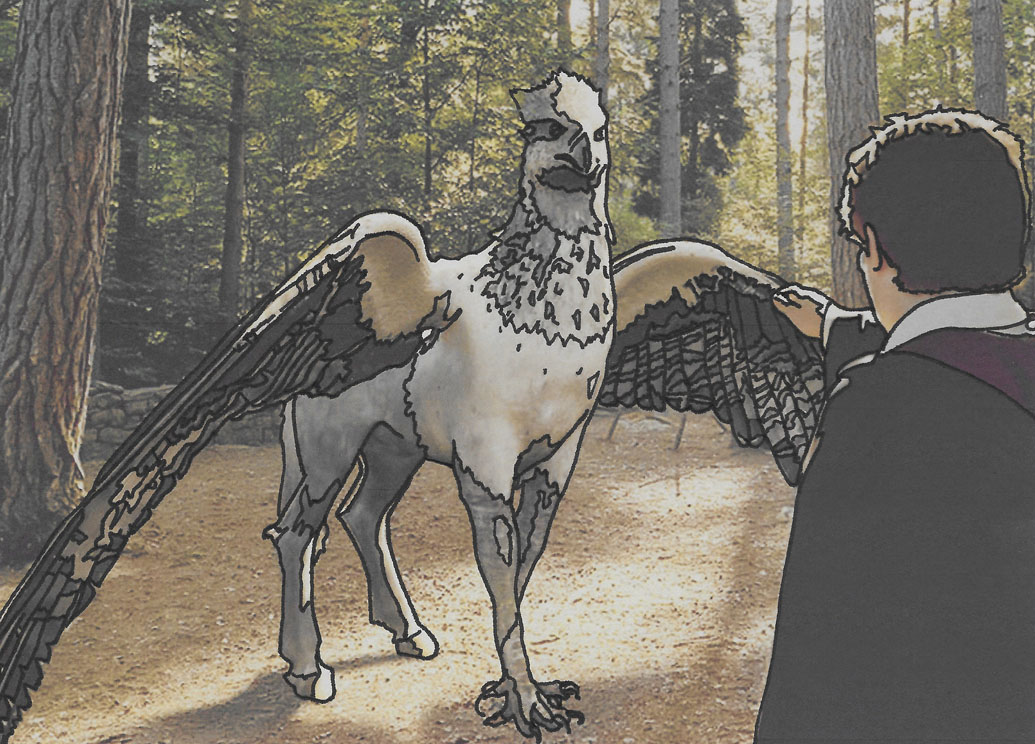 An ink drawing by Jeffcoat Art of Harry Potter holding his hand out to Buckbeak the hippogriff.