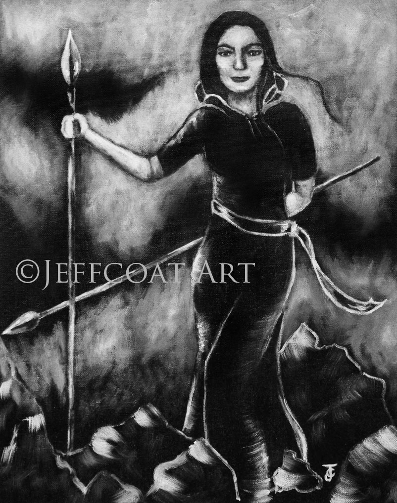 Black and white painting of a woman holding two spears shes standing in a mountainous
