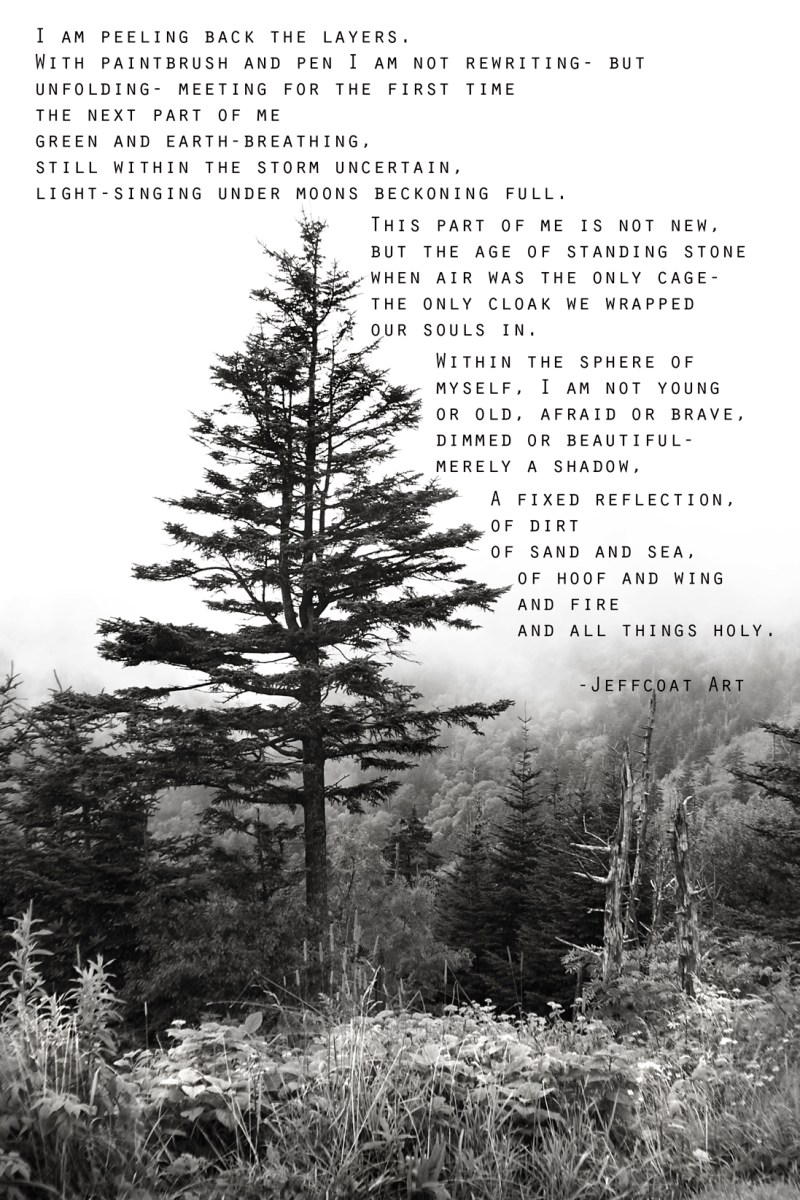 Black and white photo of lone tree with trees and mist in background. Photo taken at Clingman's Dome in Great Smokies. Poem included in photo, written by Jeffcoat Art.