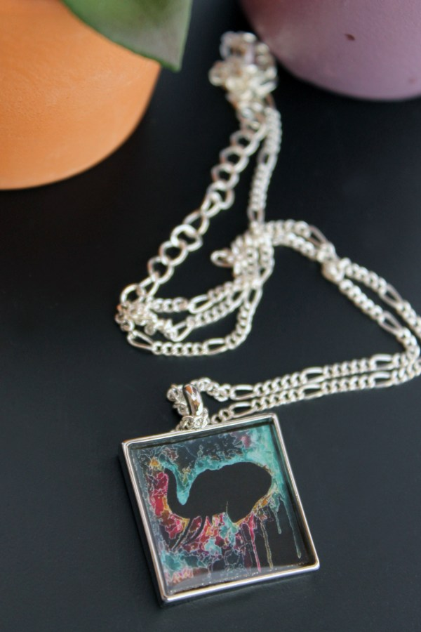 Elephant Psychedelic necklace by Jeffcoat Art