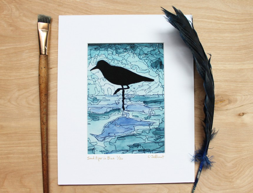 Sand Piper wall decor in shades of blue