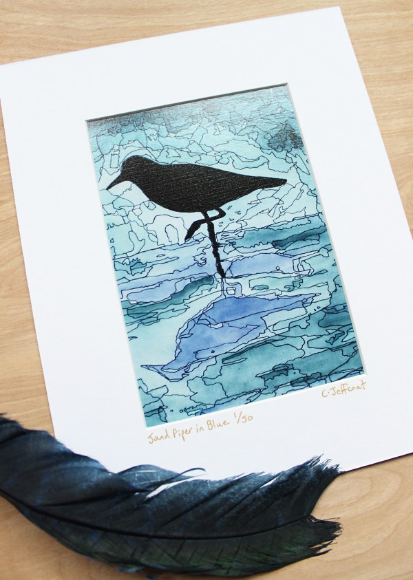 Sand Piper Blue 5x7 Limited Edition Print by Jeffcoat Art