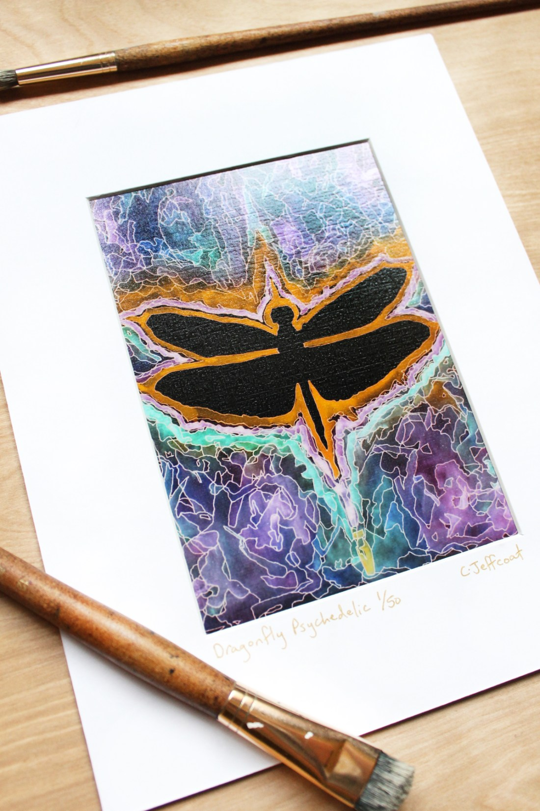 colorful wall decor of dragonfly