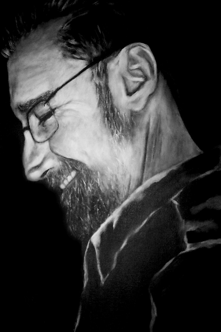 Exercise compassion, black and white portrait painting of a man who passed away