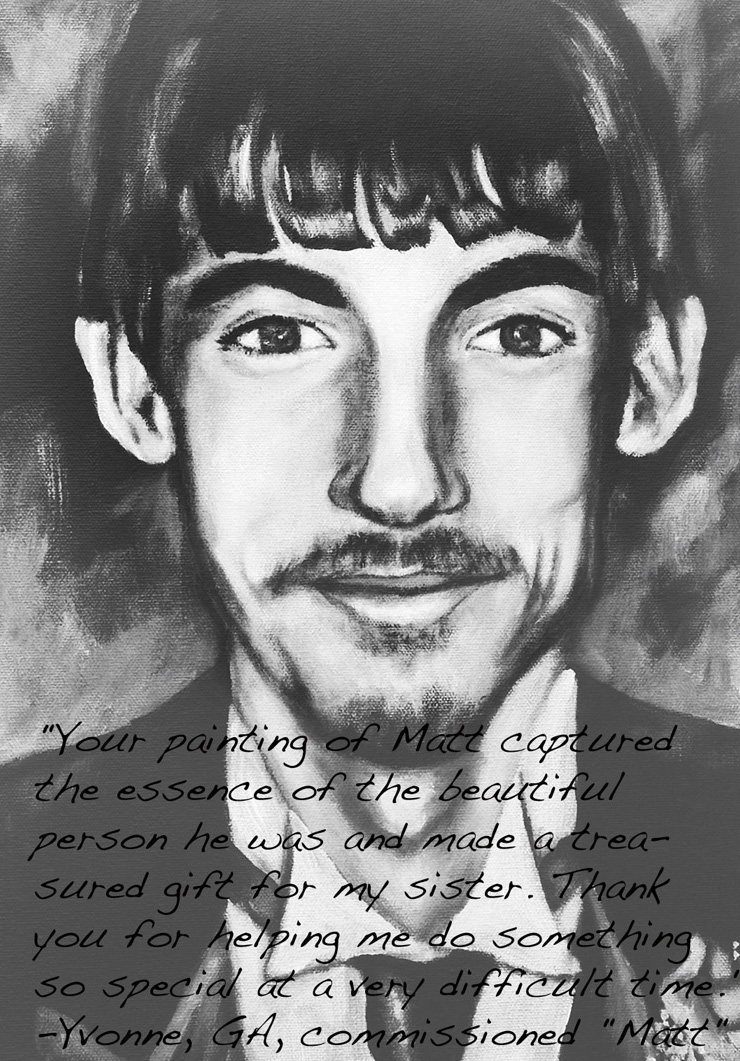 black and white portrait painting of young man who passed away