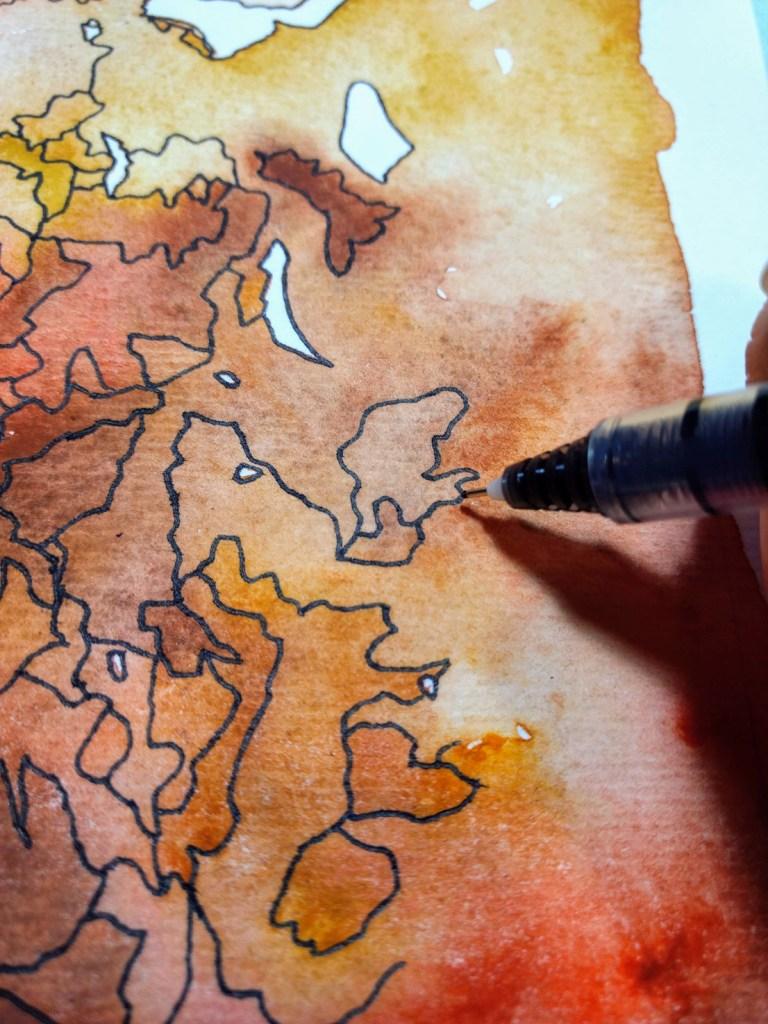 Desert Light Watercolor Inking Tutorial work in progress by Jeffcoat Art