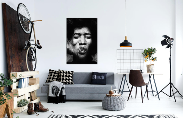 Jimi Hendrix Canvas Art, black and white musician painting by Jeffcoat Art