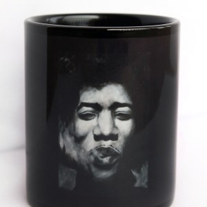 Jimi Hendrix Coffee Mug, black and white art by Jeffcoat Art