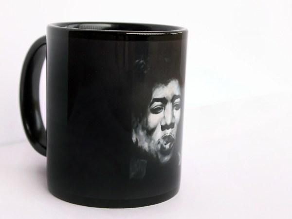 Jimi Hendrix Coffee Mug, black and white art by Jeffcoat Art