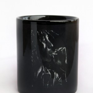 black and white Bob Marley coffee mug by Jeffcoat Art