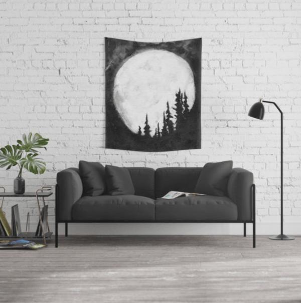 Full Moon & Trees black & white art tapestry by Jeffcoat Art