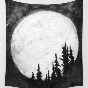 Full Moon & Trees black & white art tapestry by Jeffcoat Art