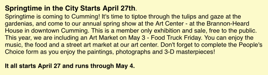 Springtime in the City art show