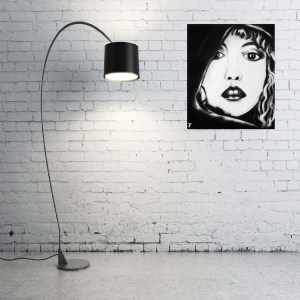 black and white portrait painting of Stevie Nicks from Fleetwood Mac by Jeffcoat Art