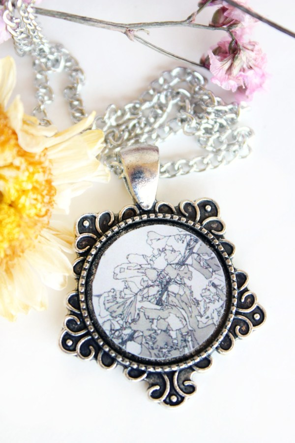 Summer Country No.7-Necklace-sepia inking in a silver snowflake setting handmade by Jeffcoat Art