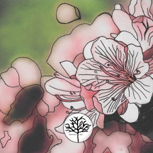 inking of pink azaleas by Jeffcoat Art