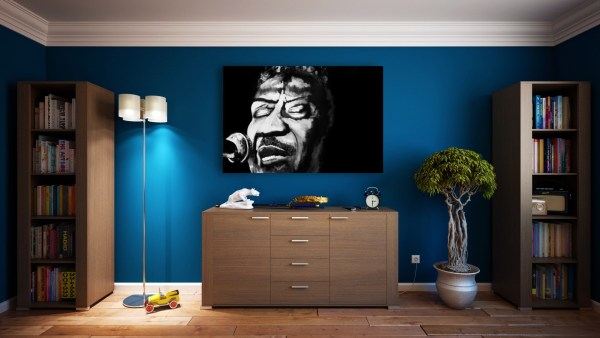 black and white painting of Muddy Waters hanging in room by Jeffcoat Art